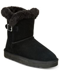 Style & Co. - Black Tiny Low Shaft Faux-fur Cold Weather Booties - Lyst