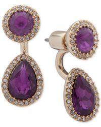 Ivanka Trump Purple Pavé & Stone Jacket Earrings