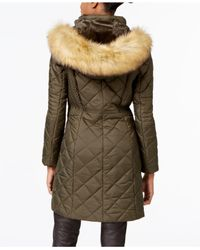 Jones New York - Green Faux-fur-trim Knit-side Quilted Coat - Lyst