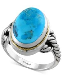 Effy Collection - Blue Manufactured Turquoise Braided-style Ring (5-3/4 Ct. T.w.) In Sterling Silver And 18k Gold - Lyst