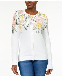 Karen Scott - White Printed Cardigan, Created For Macy's - Lyst