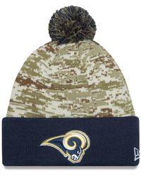 ec7b0e7dcaa Lyst - Ktz Los Angeles Rams Salute To Service Knit Hat in Green for Men