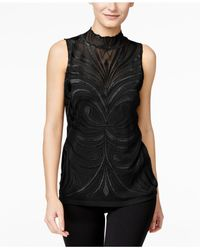 INC International Concepts - Black Embroidered Blouse, Only At Macy's - Lyst