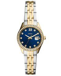 Fossil Metallic Micro Scarlette Two-tone Two-tone Bracelet Watch 28mm