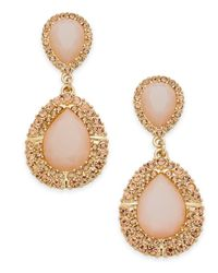 INC International Concepts - Metallic I.n.c. Gold-tone Pink Stone & Pavé Drop Earrings, Created For Macy's - Lyst