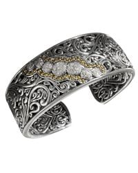 Effy Collection Metallic Diamond Round Swirl Diamond Cuff (1/4 Ct. T.w.) In 18k Gold And Sterling Silver