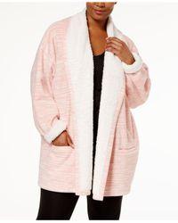 Hue Multicolor Plus Size Illusion Cozy Open-front Robe