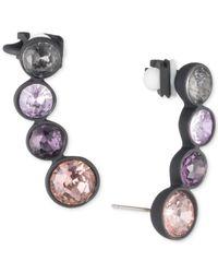 DKNY - Multicolor Hematite-tone & Black Rubber Purple Stone Crawler Earrings - Lyst