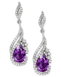 Macy's - Multicolor Amethyst (1-1/4 Ct. T.w.) And Diamond (1/3 Ct. T.w.) Drop Earrings In 14k White Gold - Lyst