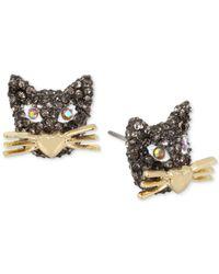 Betsey Johnson | Metallic Two-tone Pavé Cat Stud Earrings | Lyst