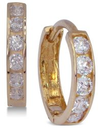 Macy's Metallic Cubic Zirconia Hoop Earrings In 10k Gold
