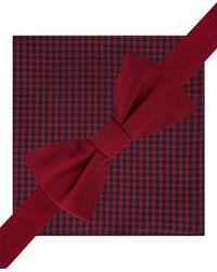 Tommy Hilfiger Orange Silk Gingham Bow Tie And Pkt Sq Neck Tie Set Short for men