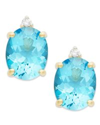 Macy's Blue Topaz (6-1/2 Ct. T.w.) And Diamond Accent Stud Earrings In 14k Gold