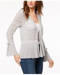Style & Co. - Gray Cotton Pointelle Peplum Cardigan, Created For Macy's - Lyst