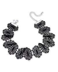 INC International Concepts | Silver-tone Black Lace Ribbon Choker Necklace | Lyst