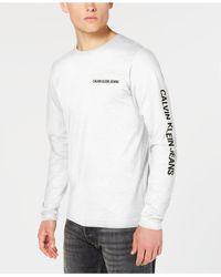 c02ec5dc69d9 Calvin Klein - Long Sleeve Core Logo Tee (bright White) T Shirt for Men