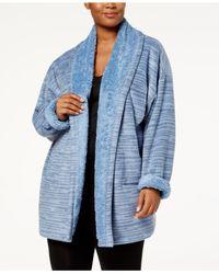Hue Blue Plus Size Illusion Cozy Open-front Robe