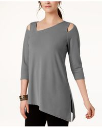 Alfani Gray Cold-shoulder Asymmetrical Top, Created For Macy's