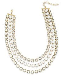ABS By Allen Schwartz - Metallic Gold-tone Crystal And Stone Layer Necklace - Lyst