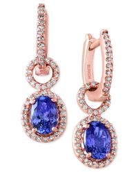 Effy Collection - Blue Tanzanite (1-1/3 Ct. T.w.) And Diamond (1/3 Ct. T.w.) Drop Earrings In 14k Rose Gold - Lyst