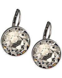 Swarovski - Metallic Silver-tone Faceted Crystal Drop Earrings - Lyst