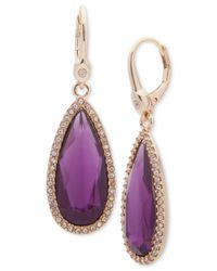 Ivanka Trump Purple Pavé & Colored Stone Drop Earrings