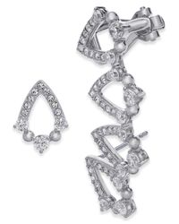 Danori | Metallic Crystal Stud And Climber Mismatch Earrings | Lyst