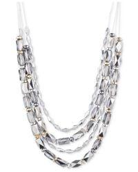 Nine West - Metallic Tri-tone Beaded Multi-layer Statement Necklace - Lyst