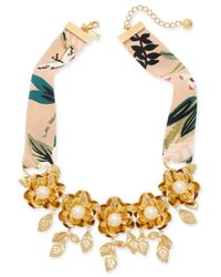 """Kate Spade - Metallic Gold-tone Crepe Fabric Imitation Pearl Flower Statement Necklace, 17"""" + 3"""" Extender - Lyst"""