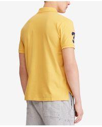 Polo Ralph Lauren Yellow Big Pony Custom Slim Fit Mesh Polo, Created For Macy's for men