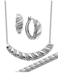 Macy's - Metallic Diamond Accent Twist Hoop Earrings, Collar Necklace And Link Bracelet Set In Silver-plate - Lyst