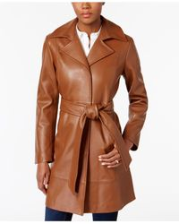 Jones New York - Brown Leather Belted Trench Coat - Lyst