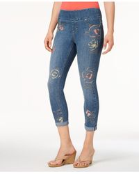 Style & Co. Blue Petite Embroidered Pull-on Cropped Jeans, Created For Macy's