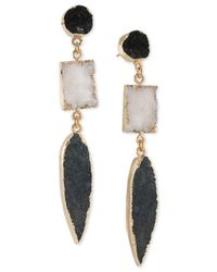 ABS By Allen Schwartz | Metallic Gold-tone Black & White Resin Drop Earrings | Lyst