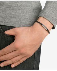 Swarovski - Black Men's Silver-tone Pavé Leather Bracelet for Men - Lyst