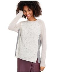 Charter Club Gray Donna Cashmere Colorblock Sweater, Created For Macy