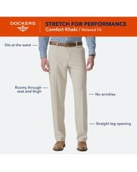Dockers Gray Relaxed Fit Comfort Khaki Flat Front Pants for men
