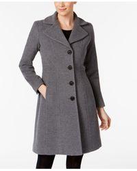 Anne Klein - Gray Wool-blend Walker Coat - Lyst