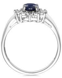 Macy's Blue Sapphire (9/10 Ct. T.w.) And Diamond Accent Ring In 10k White Gold