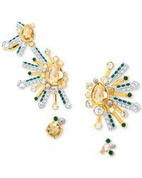 Swarovski - Metallic Two-tone 2-pc. Set Multicolor Crystal Ear Crawler & Linear Drop Earrings Set - Lyst