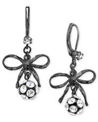 Betsey Johnson - Black Bow Earrings - Lyst
