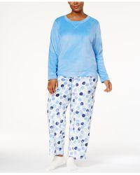 Hue - Blue Plus Size Sueded Fleece Top & Printed Pants With Socks Pajama Set - Lyst