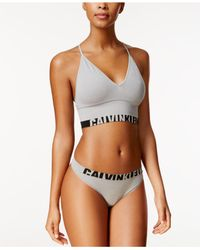 Calvin Klein - Gray Logo Longline Bralette Qf1567 - Lyst