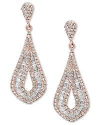 Effy Collection - Metallic Classique By Effy® Diamond Baguette Drop Earrings (1-1/2 Ct. T.w.) In 14k Rose Gold - Lyst