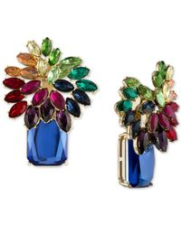 RACHEL Rachel Roy Multicolor Gold-tone Multi-stone Cluster Clip-on Earrings