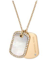 Michael Kors - Metallic Gold-tone Pavé & Black Stone Dog Tags Pendant Necklace - Lyst