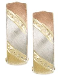 Macy's - Metallic Tri-tone Hoop Earrings In 14k Gold - Lyst