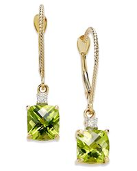 Macy's Metallic 14k Gold Earrings, Peridot (2-1/5 Ct. T.w.) And Diamond Accent Long Drop Square Earrings