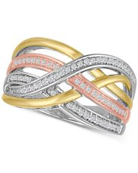 Macy's - Metallic Diamond Weave Tri-color Statement Ring (1/4 Ct. T.w.) In Sterling Silver And 14k Gold-plate - Lyst