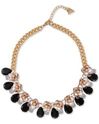 Guess Metallic Floral Motif Collar Necklace With Stone Accents